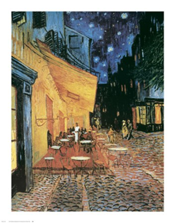 The Cafe Terrace on the Place du Forum, Arles, at Night, c.1888 by Vincent Van Gogh art print