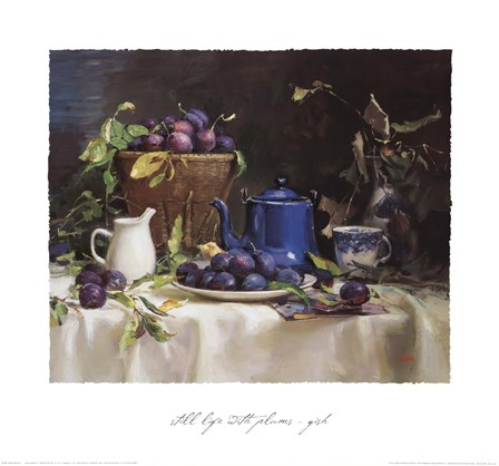 Still Life with Plums by Del Gish art print