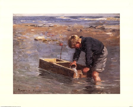 Boy with boat art print