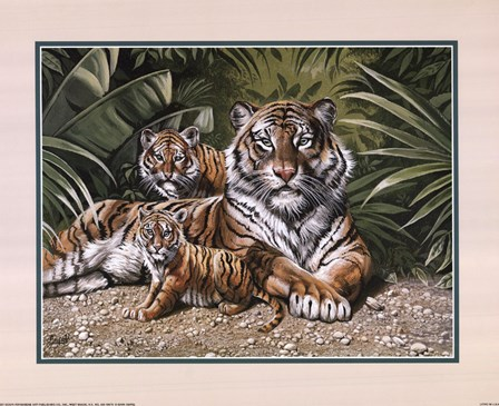 Yellow Tiger With Cubs by Gary Ampel art print