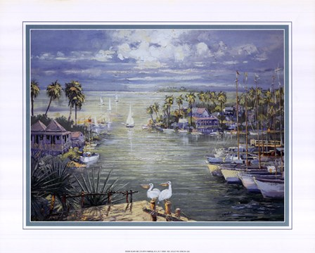 Safe Harbor With Pelicans by Raul Conte art print