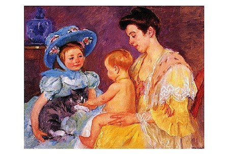 Children Playing with a Cat by Mary Cassatt art print