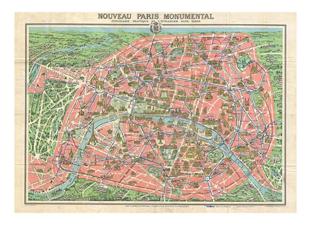 Map of Paris circa 1931 including monuments art print
