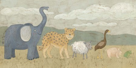 Animals All in a Row I by Megan Meagher art print