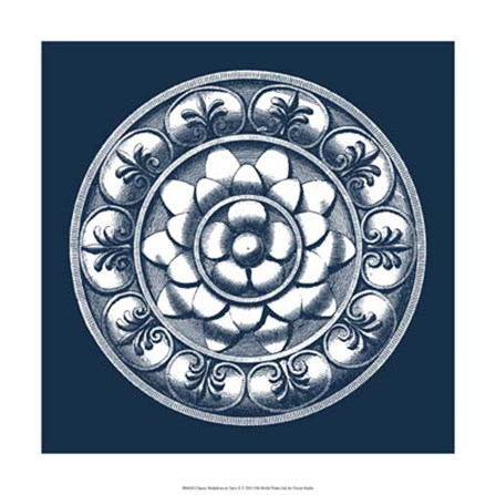Classic Medallion on Navy II by Vision Studio art print