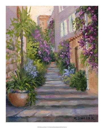 Stairway Of Flowers by Mary Jean Weber art print