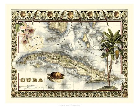 Tropical Map of Cuba by Vision Studio art print