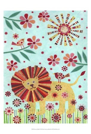 Lion and Birds by Kim Conway art print