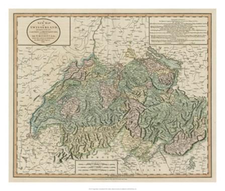 Vintage Map of Switzerland by John Cary art print