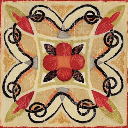 Bohemian Rooster Tile Square I by Daphne Brissonnet art print