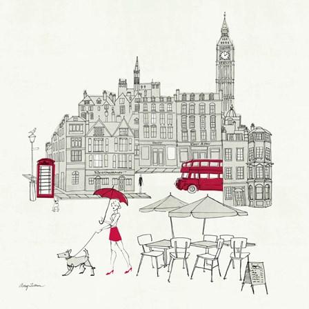 World Cafe I - London Red by Avery Tillmon art print