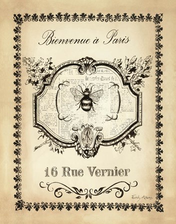 Paris Bees I by Emily Adams art print