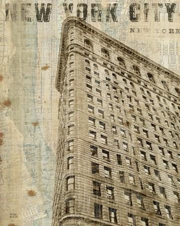 Vintage NY Flat Iron by Michael Mullan art print