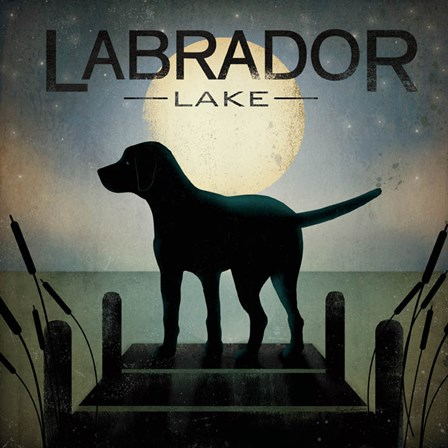 Moonrise Black Dog - Labrador Lake by Ryan Fowler art print