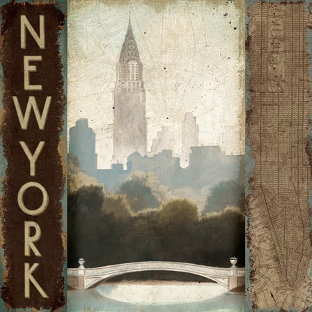 City Skyline New York Vintage Square by Marco Fabiano art print