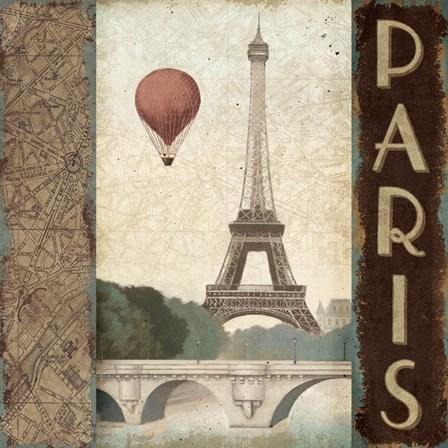 City Skyline Paris Vintage Square by Marco Fabiano art print