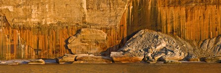 Pictured rocks near a lake, Pictured Rocks National Lakeshore, Lake Superior, Upper Peninsula, Alger County, Michigan, USA by Panoramic Images art print
