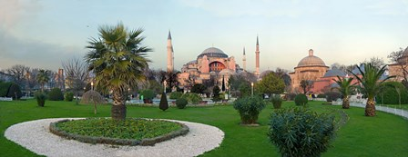 Formal garden in front of a church, Aya Sofya, Istanbul, Turkey by Panoramic Images art print