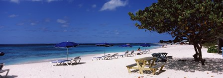 Beach chairs on the beach, Shoal Bay Beach, Anguilla by Panoramic Images art print