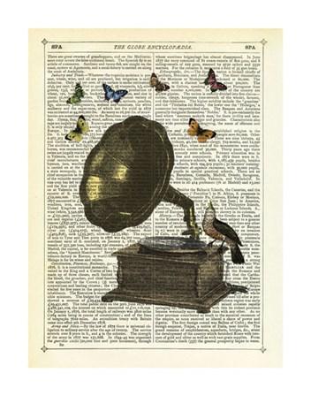 Gramophone, Bird & Butterflies by Marion McConaghie art print