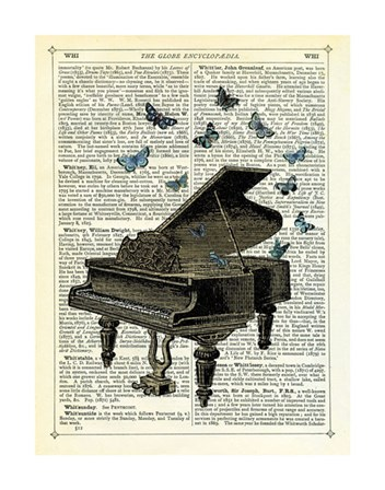 Piano & Butterflies by Marion McConaghie art print