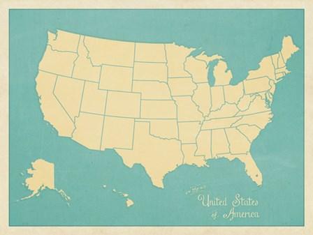 USA Map (blue) by Sparx Studio art print
