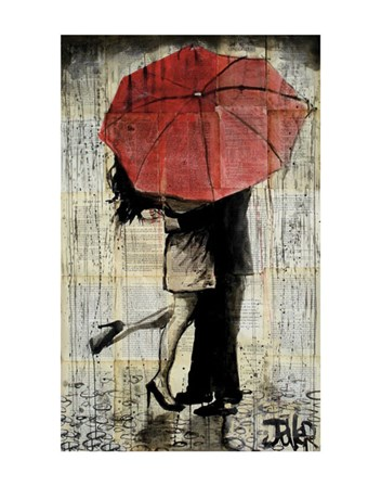 The Red Umbrella by Loui Jover art print