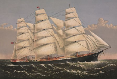 """Clipper Ship """"Three Brothers"""", ca. 1875 by Currier and Ives art print"""