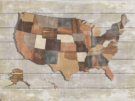 Wood Map by Sparx Studio art print