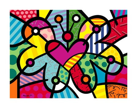 Heart Butterfly by Romero Britto art print