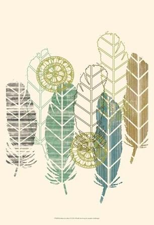 Feathers in a Row I by Jennifer Goldberger art print
