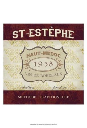 Burgundy Wine Labels III by June Erica Vess art print