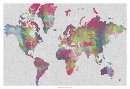 Impasto Map of the World by Jennifer Goldberger art print