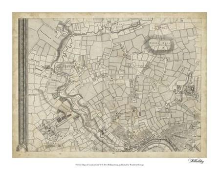 Map of London Grid V art print