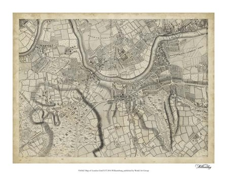 Map of London Grid X art print