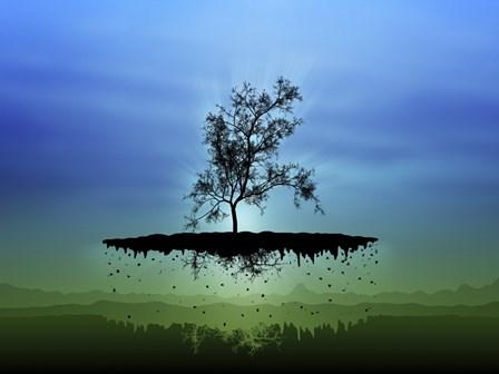 Flying Tree ( digitally generated - blue) by Vlad Gerasimov/Stocktrek Images art print