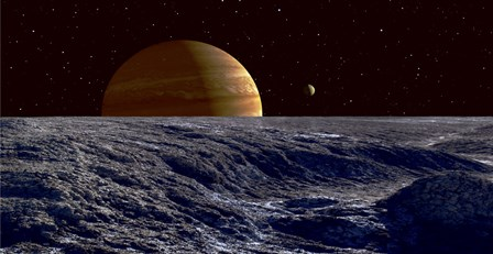 The Gas Giant Jupiter Seen Above the Surface of Jupiter's Moon Europa by Frank Hettick/Stocktrek Images art print
