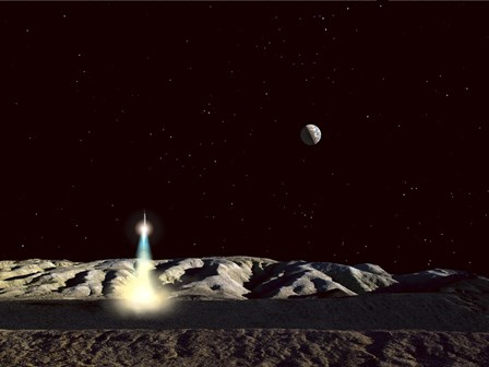 Moonship Lifts Off from the Lunar Hills by Frank Hettick/Stocktrek Images art print