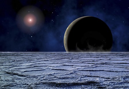 Distant Star Illuminates an Extrasolar Planet by Frank Hettick/Stocktrek Images art print