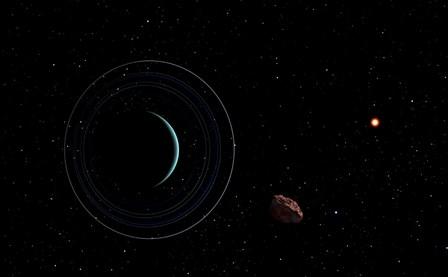 Uranus with the Distant Sun and an Inner Satellite by Frank Hettick/Stocktrek Images art print