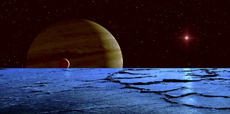 Jupiter and its Moon Lo as Seen from the Surface of Jupiter's Moon Europa by Frank Hettick/Stocktrek Images art print