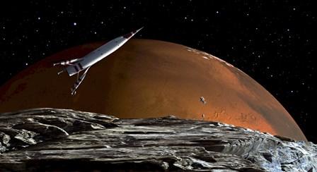 Spaceship in Orbit over Mars Moon, Phobos by Frank Hettick/Stocktrek Images art print