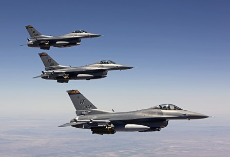 Three F-16's fly in Formation over Arizona by HIGH-G Productions/Stocktrek Images art print