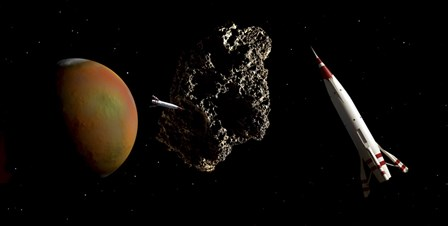 Two 1950's Styled Spaceships Near Mars and its Moon Deimos by Frank Hettick/Stocktrek Images art print
