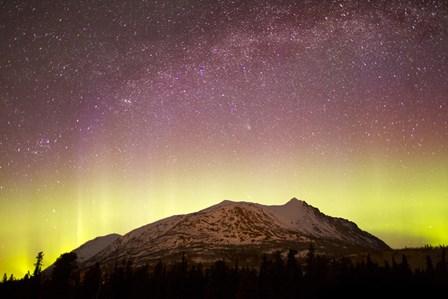 Aurora Borealis, Comet Panstarrs and Milky Way over Yukon, Canada by Joseph Bradley/Stocktrek Images art print