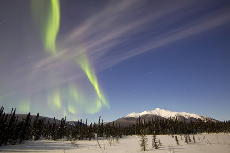 Aurora Borealis over Mountain near Mayo, Yukon, Canada by Joseph Bradley/Stocktrek Images art print