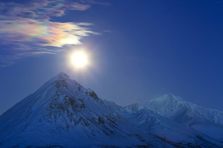 Full moon with Rainbow Clouds over Ogilvie Mountains, Canada by Joseph Bradley/Stocktrek Images art print