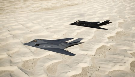 Two F-117 Nighthawk Stealth Fighters over White Sands National Monument by HIGH-G Productions/Stocktrek Images art print