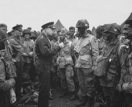 General Dwight D Eisenhower with Soldiers of the 101st Airborne Division by John Parrot/Stocktrek Images art print