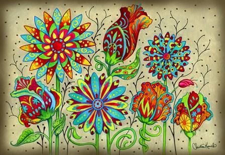 Mosaic Flowers-Festival by Christine Kerrick art print